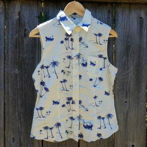 🏝️ Vintage Palm Tree & Horse Print Button-Up Top
